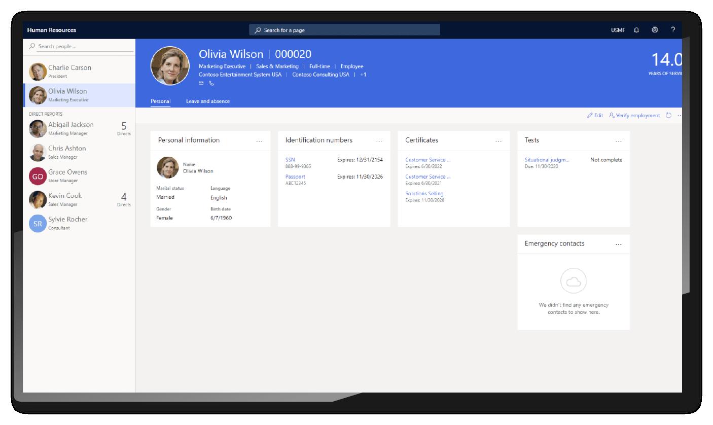 Manage employee profiles